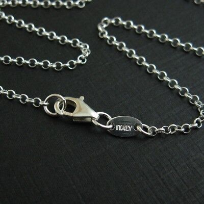 Solid Sterling Silver 2mm Rolo Necklace Chain with ITALY TAG  (All Sizes)