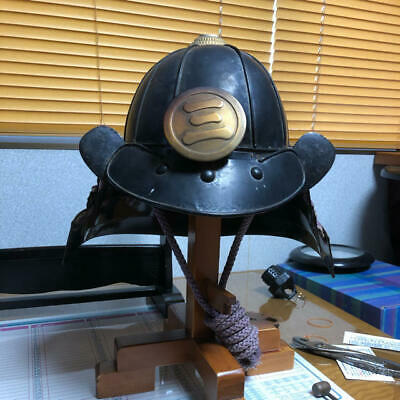 Really old Japanese KABUTO SAMURAI helmet with famous crest BUSIDO Antique F/S