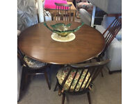 Mid Century Ercol Dining Table & 4 Ercol Goldsmith Chairs with original cushions