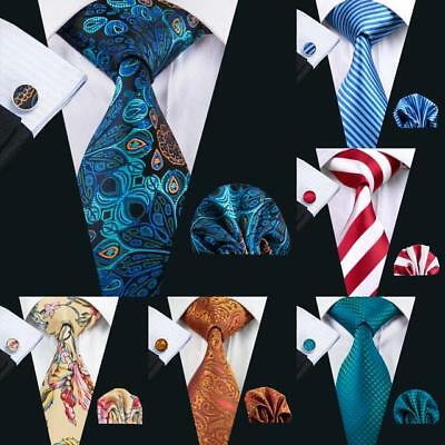 USA Men Ties Necktie Set Silk Blue Red Black Gold Paisley Solid Stripe Hanky Set