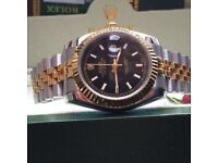 TwoTone Rolex DateJust with Black Face and Jubilie Strap in Rolex Bag and Box