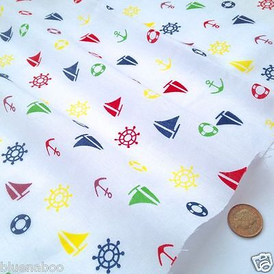 White nautical themed fabric yachts anchors per FQ, 1/2M or metre polycotton  - Nautical Themed Fabric