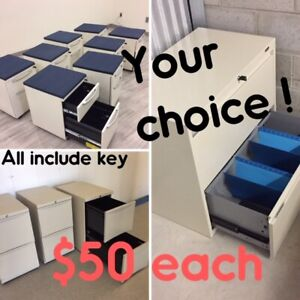 $50 FILE CABINET SELL OFF. YOUR CHOICE. ALL EXCELLENT & WITH KEY