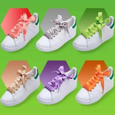 Ribbon Shoe Laces (Flat Silk Shoelaces Ribbon Satin Shoe Laces Sneakers 20)