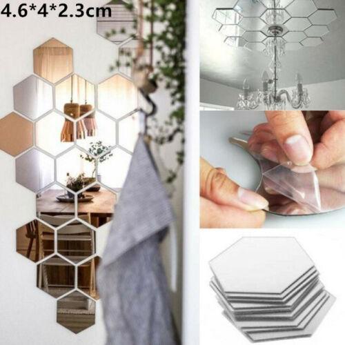mirror - 72 Acrylic Mirror Effect Tile Wall Sticker Room Decor Stick On Art Bathroom DIY