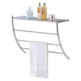 Chrome 3 Tier Towel Rack Holde With Top Storage Shelf Wall Mounted Bathroom