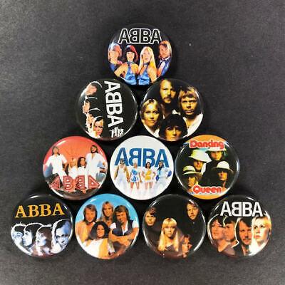 "Abba 1"" Button (10 Pin) Set Pop Disco Dancing Queen Swedish"