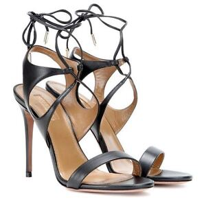 NEW Aquazurra Colette 105 Black Leather heels sandals Size 37