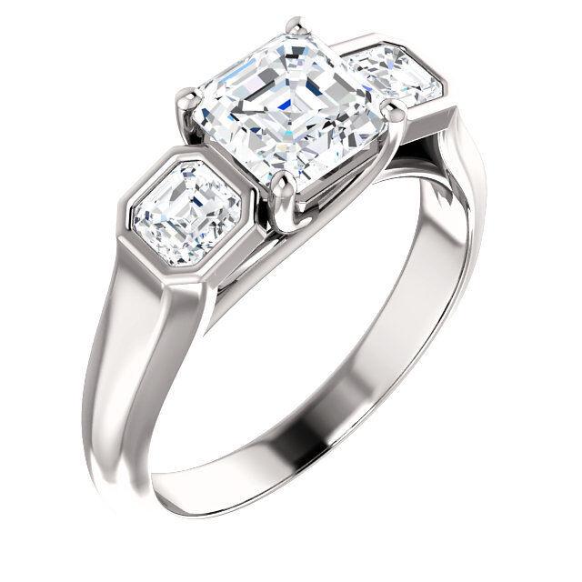 1.60 ct 3 stone Asscher Diamond 1.20 ct GIA G VS1 Engagement 14k Gold Ring #12