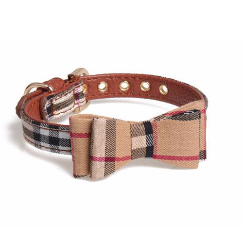 Plaid Dog Cat Collar - Pet Bowtie Pu Leather Adjustable Gold Buckle Luxury