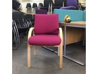 Wooden Frame Conference Chair - Red Fabric