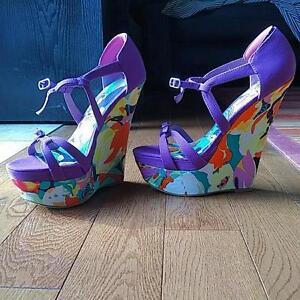 Purple, Colorful Wedge Sandals, Size 6.5-7 EU Kitchener / Waterloo Kitchener Area image 4