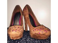 ROSELIGHT fashion shoes heel decollete brown suede