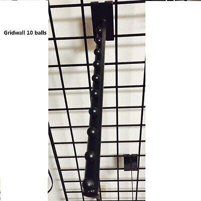 10 Pcs 10-ball Waterfall Round Tube Hook Gridwall Accessory Clothing Rack Black
