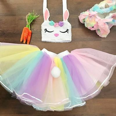 US Baby Girl Kid Rabbit Top Rainbow Skirt Fancy Tutu Dress Cosplay Costume Dress - Baby Rabbit Costume