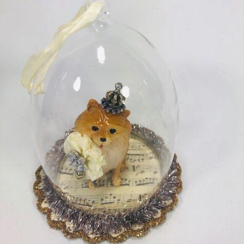 Pomeranian  Hanging Figurine Ornament Dog Glass Demdaco Animals Hanging