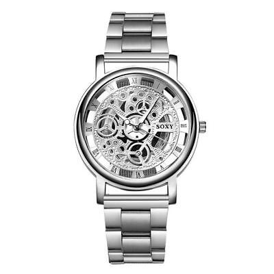 Mens stainless Steel Skeleton Chronograph Quartz Metal Dress Wrist Watch