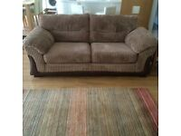 A pair of DFS Settees - light brown corded material - lovely condition.