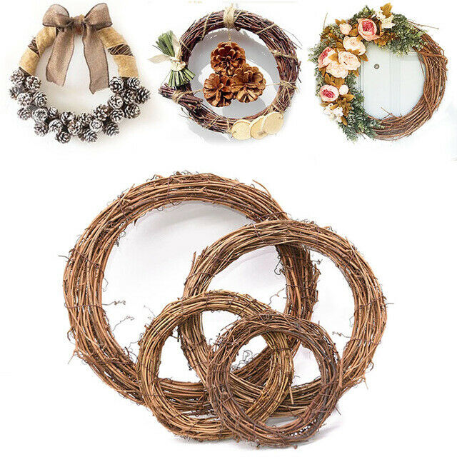 Christmas Rattan Wreath Decorations DIY Door Wall Home Ornament Hanging Material
