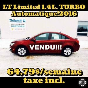 2016 CHEVROLET CRUZE LT 1.4 TURBO AUTOMATIQUE