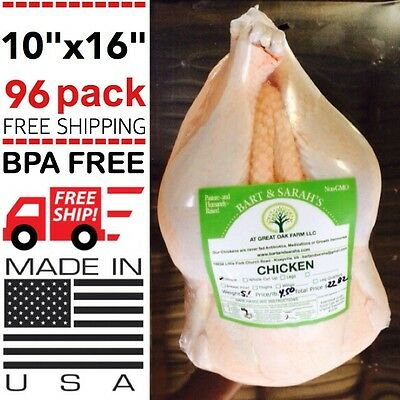 96 Poultry Shrink Bags 10 X 16 Chicken Food Processing Freezer Saver Heat