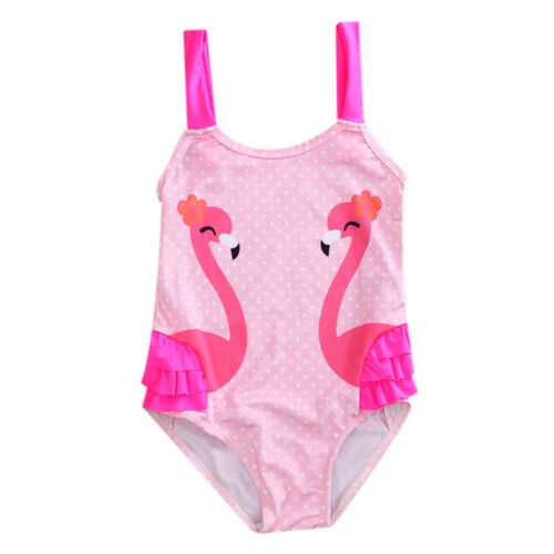 NEW Girls Pink Flamingo Ruffle Swimsuit Bathing Suit 2T 3T 4T 5T 6