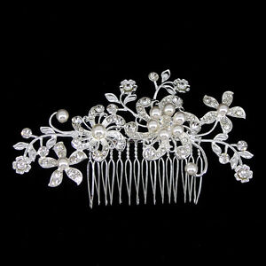 11cm Wide Pearl Flower Leaf Wedding Bridal Bridesmaid Prom Crystal Hair Comb