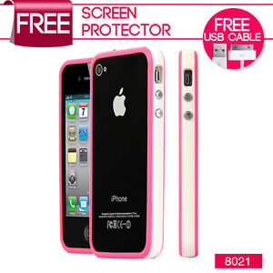 NEW STYLISH BUMPER SERIES CASE COVER FOR APPLE IPHONE 4 4S FREE SCREEN PROTECTOR