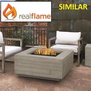 NEW REAL FLAME FIRE PIT TABLE C11801LP-CGR 199218812 PROPANE BOARD FORM SQUARE FIBER CONCRETE GREY
