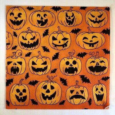 4 Servietten - Kürbisse Halloween Serviettentechnik Basteln - Halloween Kürbisse