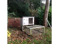 Large Quality Two Level Rabbit or Guinea Pig Hutch with attached Run