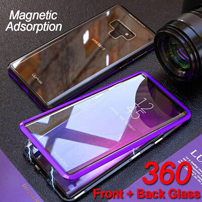 360 Full Body Front + Back Glass Magnetic Case Cover Samsung Galaxy Note 9 S10 +
