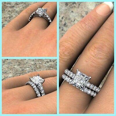 2.60 ct. Natural Princess Cut Pave Bridal Set - GIA Certified & Appraised