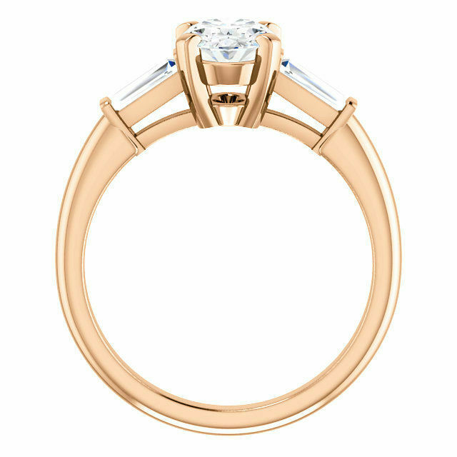 1.30 Ct Oval Brilliant Cut Diamond with Baguette Engagement Ring F,SI1 GIA 14K  1
