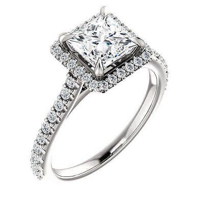 1.55 ct. Princess Cut Halo U-Setting Diamond Engagement Ring F, VS1 GIA 14k WG 1