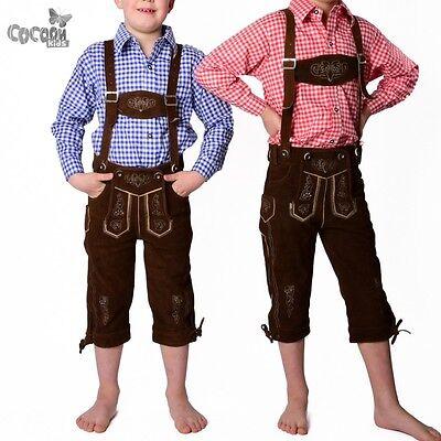 """Wunderschöne Kinder Trachten Lederhose Kniebund """"Max"""" Gr.86-176 dunkelbraun NEU!"""
