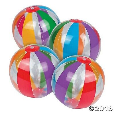 12 Clear Rainbow Beach Balls Luau Tropical Hawaiian Pool Party Favor DECORATION](Clear Beach Balls)