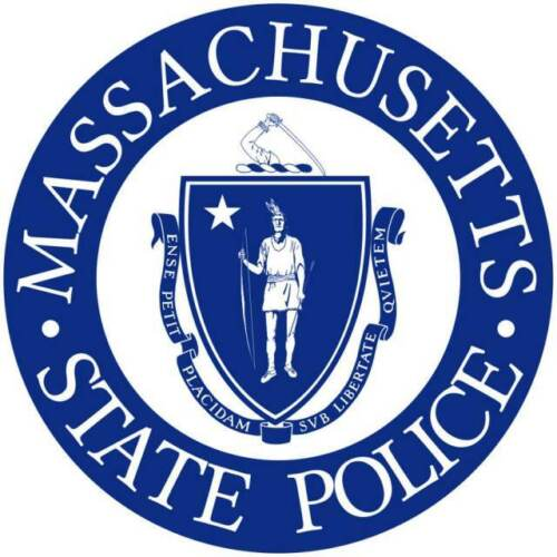 5 Inch Non-Reflective Massachusetts State Police Blue On White Vinyl Sticker