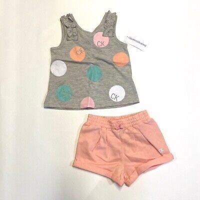 Calvin Klein Kids Girls 2-Piece Outfit Short Set Gray Ruffle Toddler Size 4 NEW