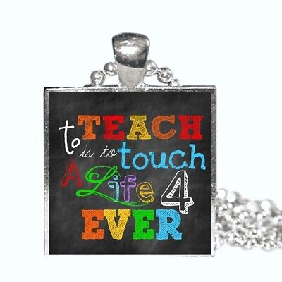 Teacher Gift Necklace Teacher Christmas Gift Teacher Quote Silver Pendant ()