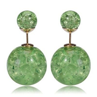 new Zara Green Pearl Cracked Double Sided Earrings