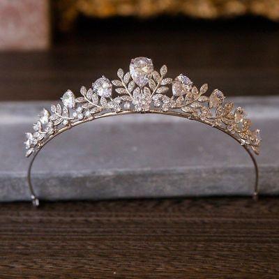 Tiara Cristal Pelo Boda Estrás Diadema Corona Reina de Novia Concursos Belleza