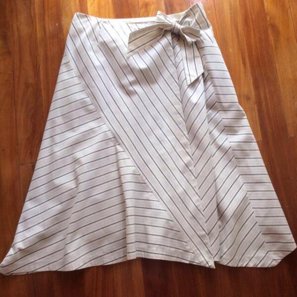Preloved Pepper Plus Pepper+ Striped Grey Wrap OL A Line Skirt