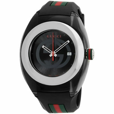 New Gucci Sync XXL YA137101 Black Rubber Band Black Dial Unisex Watch