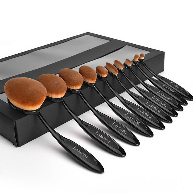 10Pcs Professional Makeup Brushes Set Oval Cream Puff Toothbrush Brush Black