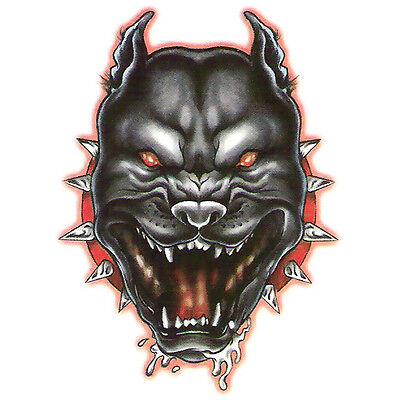 Bullseye Realistic Temporary Tattoo, Angry Pitbull Dog, Made in USA, Big Tattoos