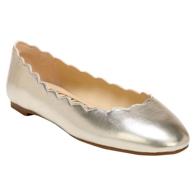 Women's Sam & Libby Capri Leather Scallop Ballet Flats Gold NWT