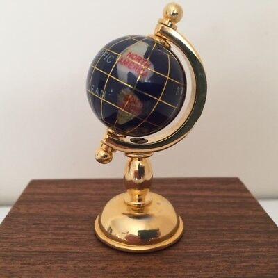 NIB Lapis Mini World Globe Natural Inlaid Gemstones w/Gold Tone Base Handcrafted (Mini Globes)