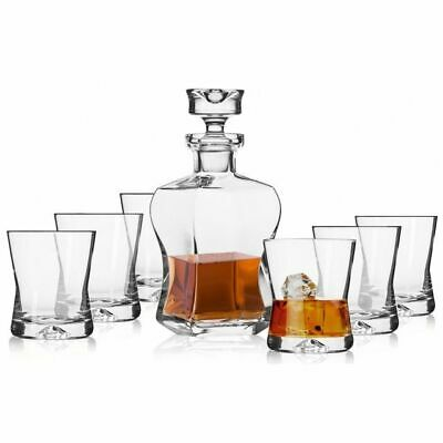 Krosno Signature Whiskygläser Whiskey Set | 1 x 950 ml Karaffe & 6 x 300 ml Glas