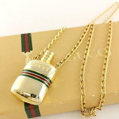 Auth GUCCI Vintage Old Sherry Line Perfume Bottle Shape Gold Tone Pendant FedEx